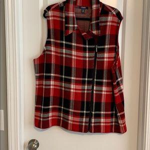 Chaps plaid zipper vest